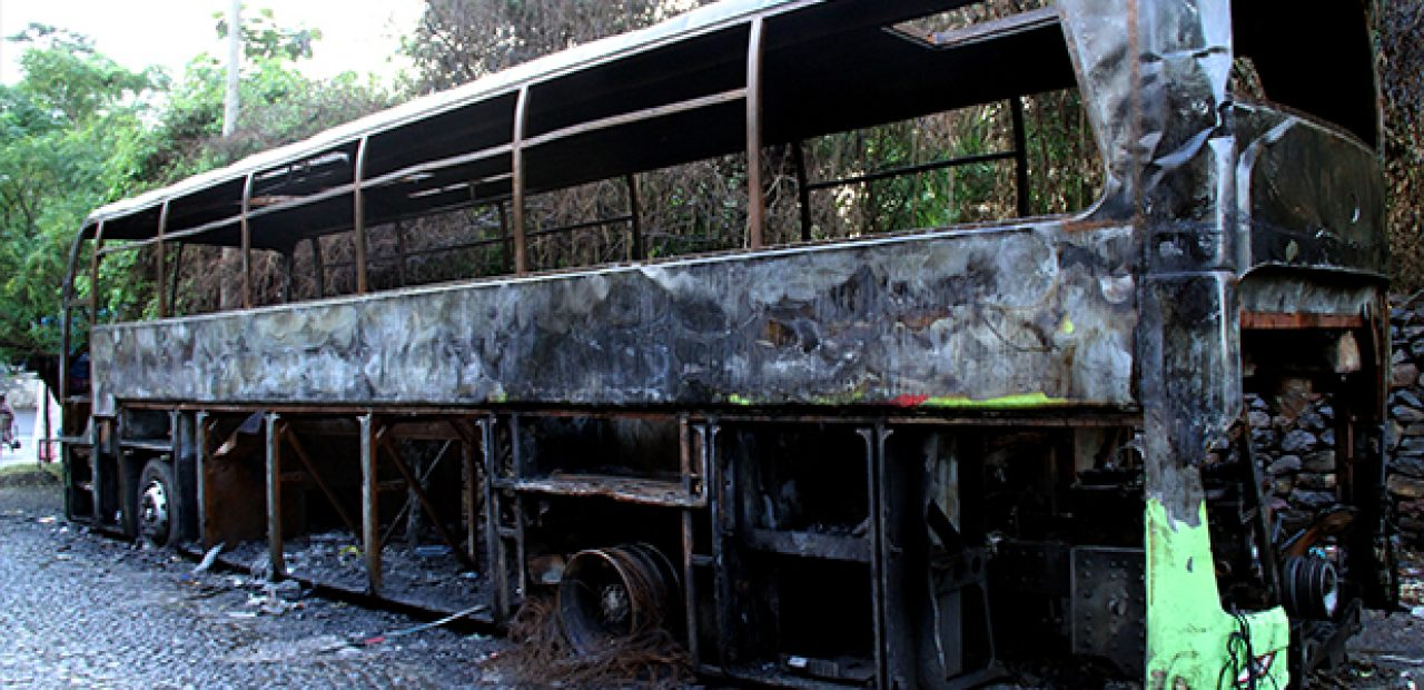 A fully damaged selam bus around Piassa in city of Gonder, which was destroyed during the unrest.